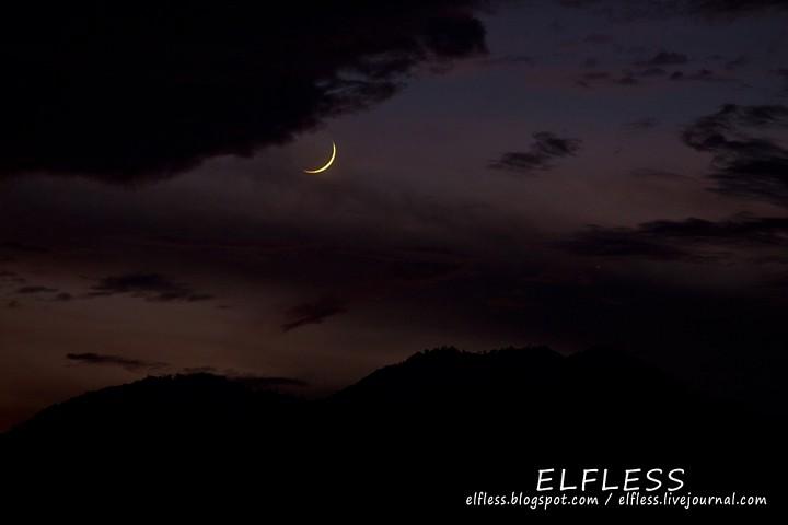Закат молодой луны и Венера