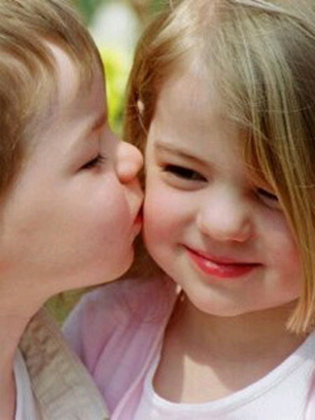 boy and girl kiss for the first time