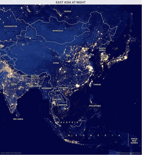 Post 5 maps that show chinas biggest limitations in blog zero hedge the above map shows the countries of east asia lit up at night it reveals much about the power dynamics in this region the centers of chinese wealth and gumiabroncs