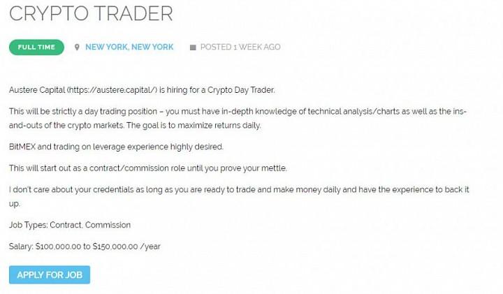 Hedge Fund Hiring Crypto Daytrader: